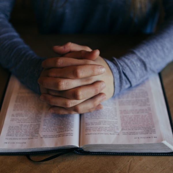 Folded hands on a Bible