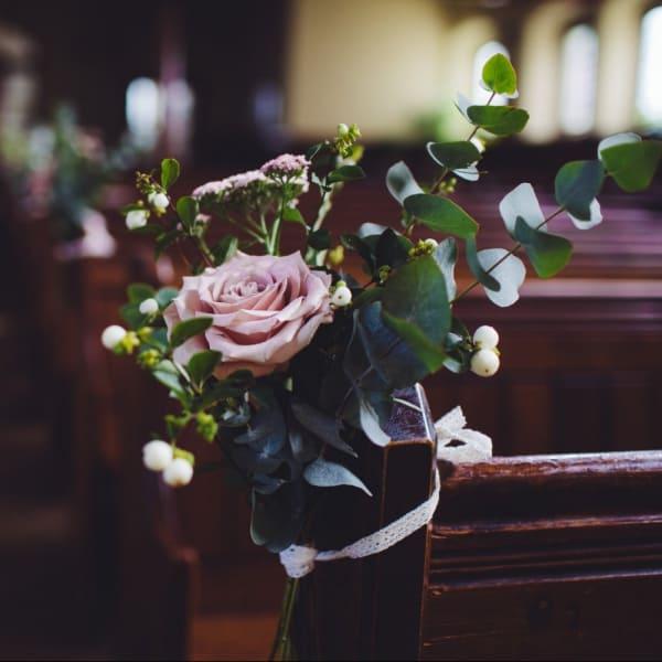 Altar flowers in a church