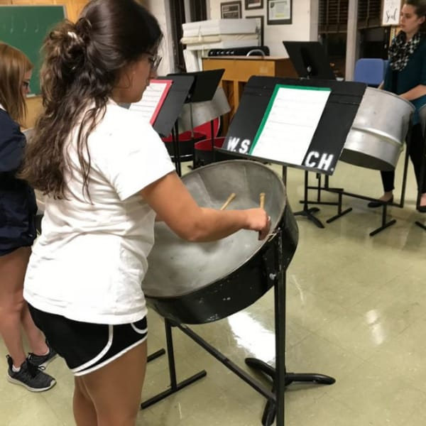 First Congo steel band kids practicing