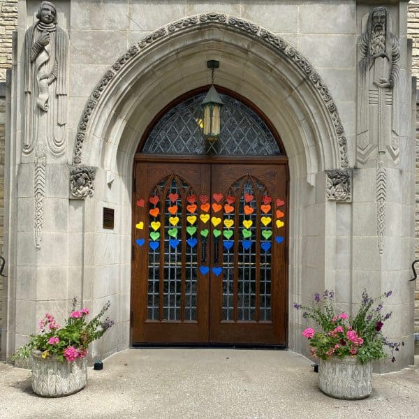 Our church's front door with Rainbow of Love notes
