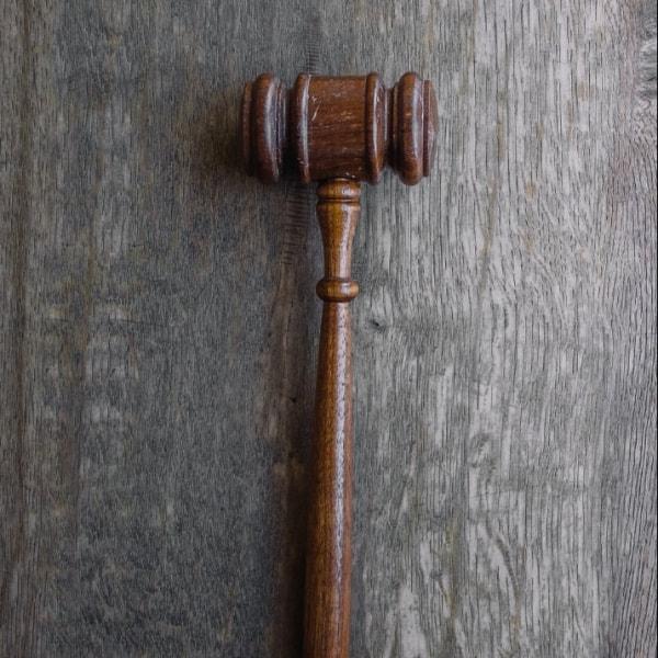 A gavel lying on a table