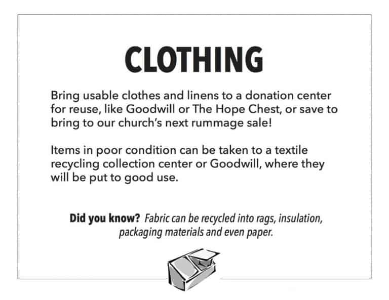 The Green Team poster on how to recycle clothing