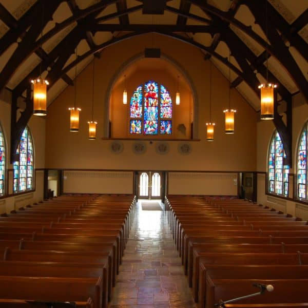 Interior of church looking towards the back door