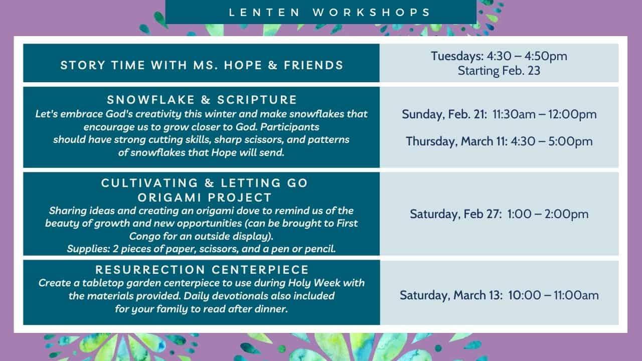 Lenten Workshops condensed graphic