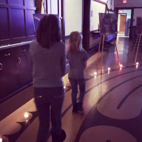 First Congo kids walking through a gallery
