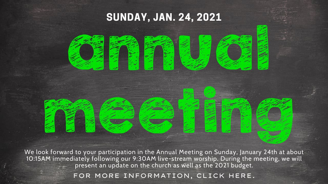 Annual meeting poster for January 24, 2021