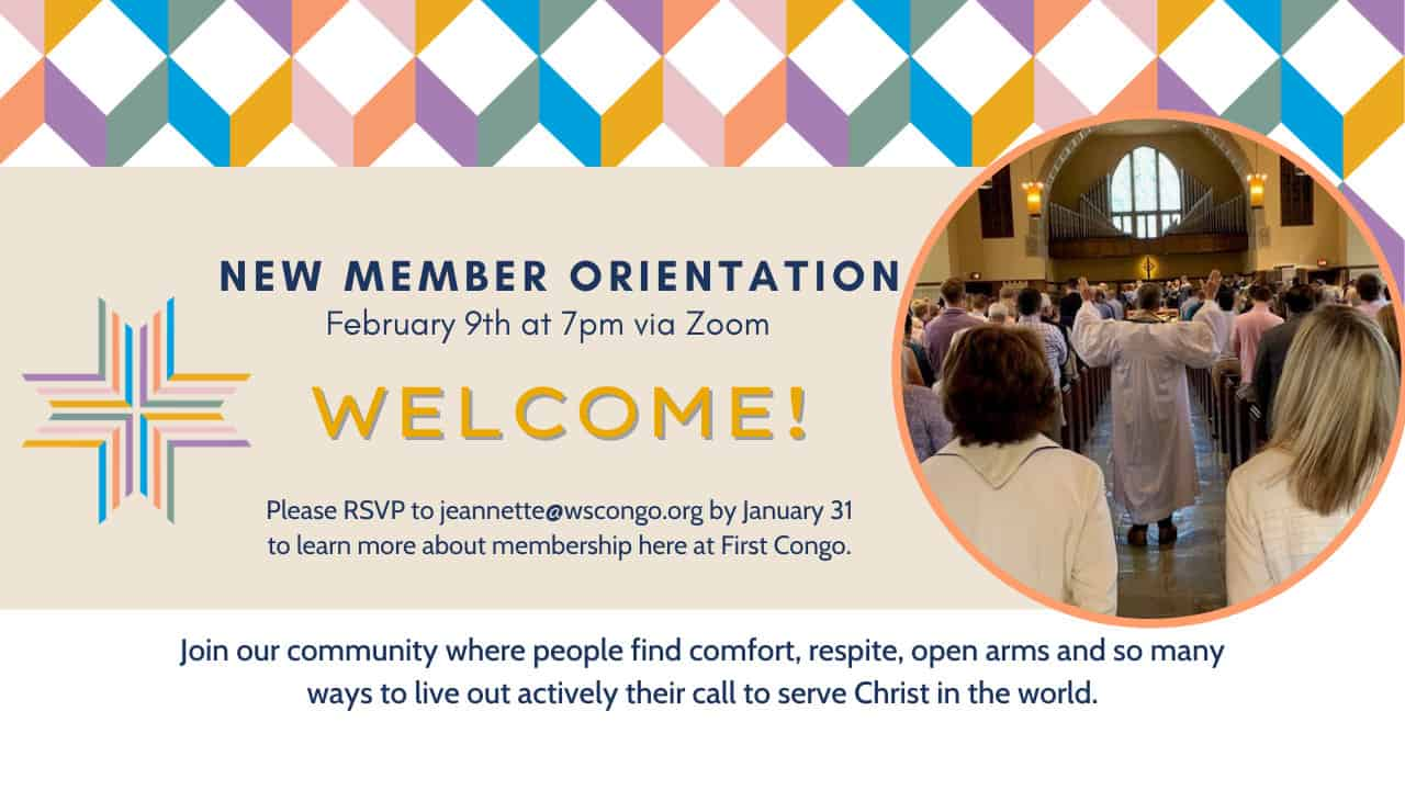 Poster for our new member orientation poster - January 31, 2021