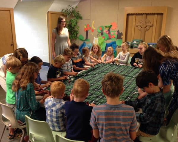 Sunday School kids doing arts and crafts