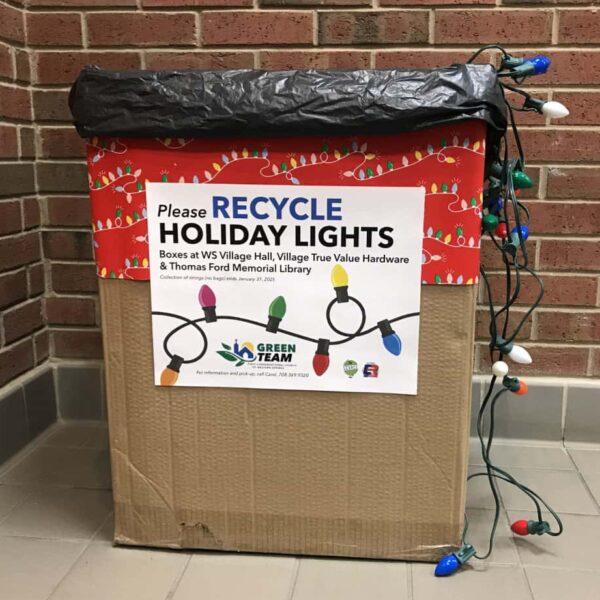 Holiday lights recycling box