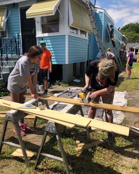 Youth program kids doing carpentry